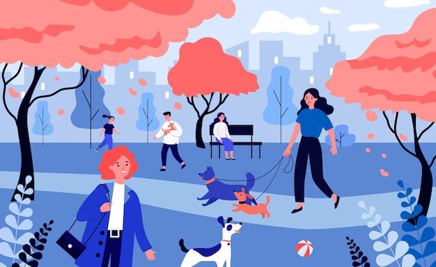 Pessoas positivas passeando com cachorros