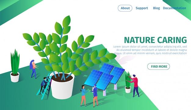 Pessoas pouco trabalhando juntos cuidando das plantas.