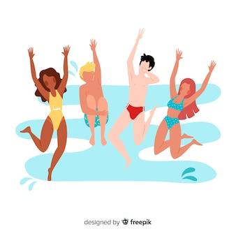 Pessoas, praia, desfrutando, verão