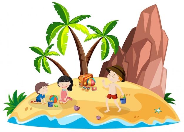 Pessoas, praia, ilha
