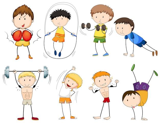 Pessoas praticando diferentes tipos de esportes