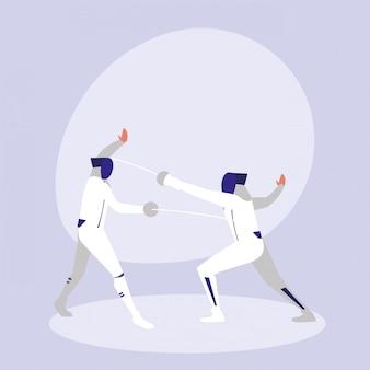Pessoas praticando esgrima personagem avatar