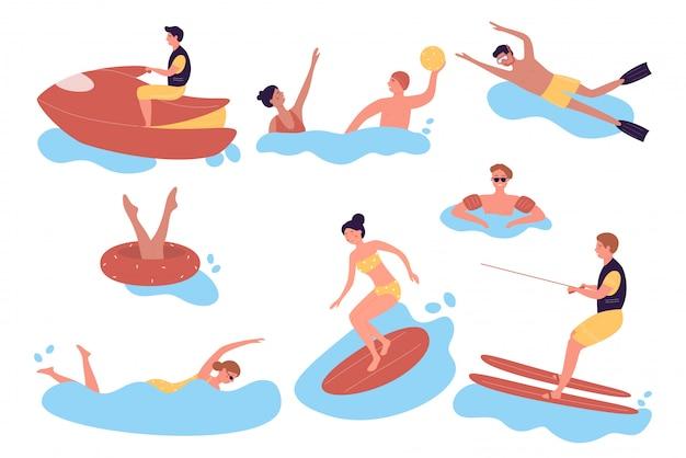 Pessoas praticando esportes aquáticos radicais