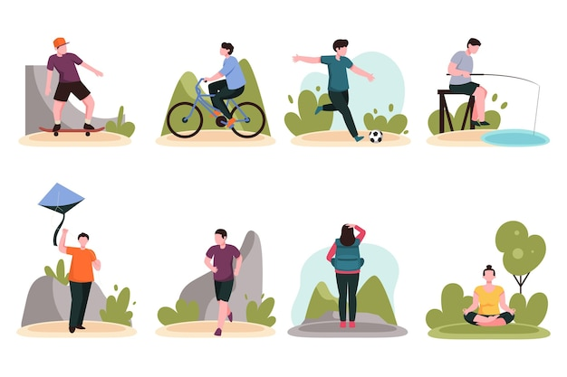 Pessoas praticando esportes de verão
