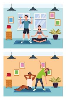 Pessoas praticando exercício no projeto de ilustração vetorial casa