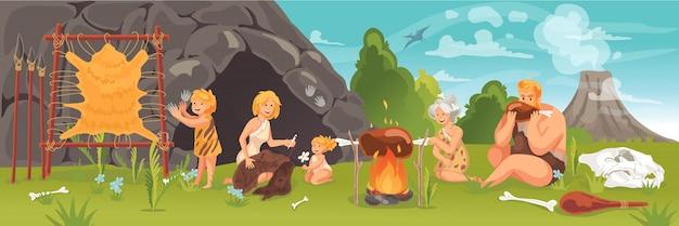 Pessoas pré-históricas no conceito da idade da pedra