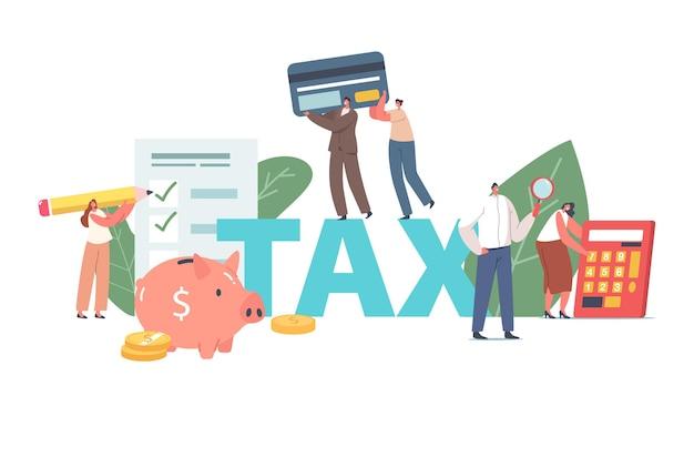 Pessoas preenchem o conceito de declaração fiscal