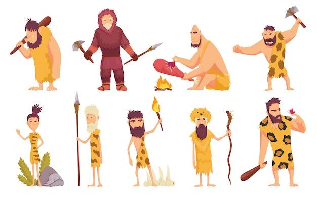 Pessoas primitivas em ícones de desenhos animados de idade da pedra com peles de homens das cavernas