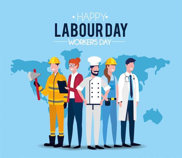 Pessoas profissionais para a celebração do dia do trabalho