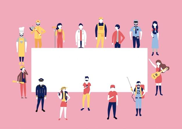 Pessoas profissionais trabalhando em torno de cartaz em branco