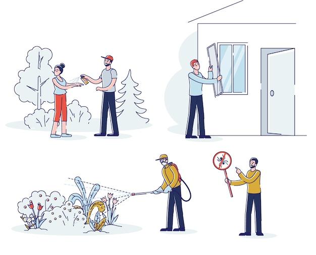 Pessoas protegendo de insetos usando repelentes, remédios químicos, pesticidas