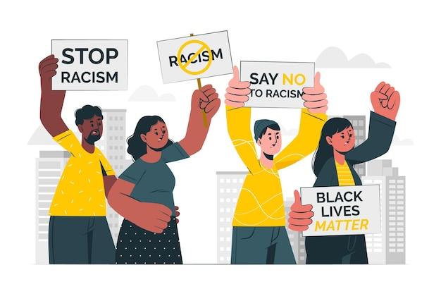 Pessoas protestando contra a ilustração do conceito de racismo