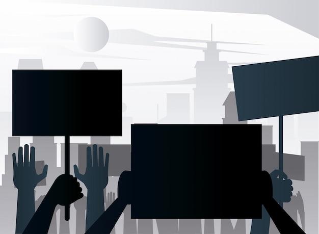 Pessoas protestando levantando silhuetas de cartazes na cidade