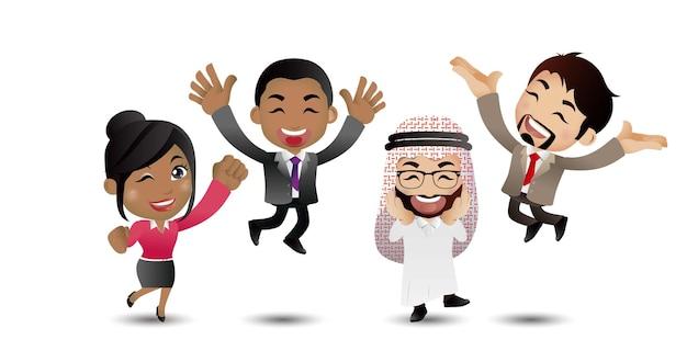 Pessoas pulando comemorando conquistas de sucesso