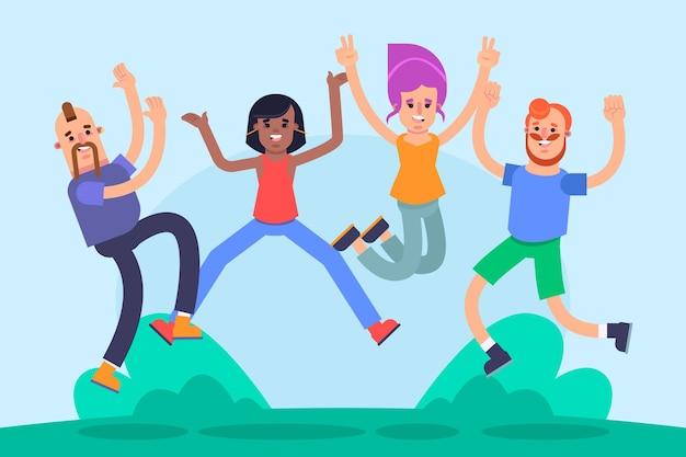 Pessoas pulando em estilo plano