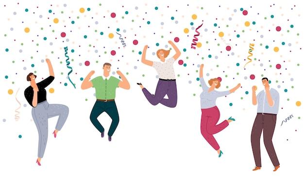 Pessoas pulando felizes