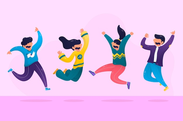 Pessoas pulando juntos design plano