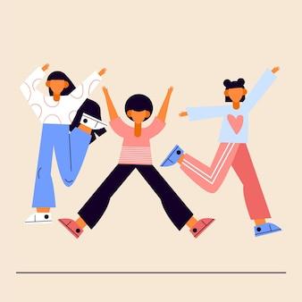 Pessoas pulando no dia da juventude em design plano