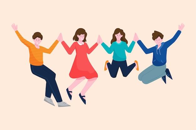 Pessoas pulando no evento do dia da juventude