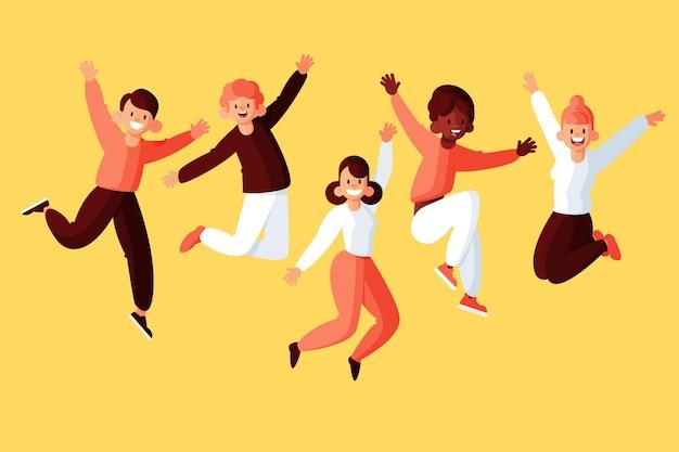 Pessoas pulando no projeto do dia da juventude