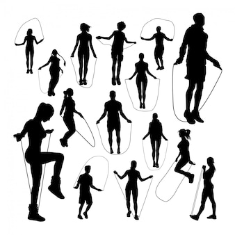 Pessoas, pular, corda, silhuetas
