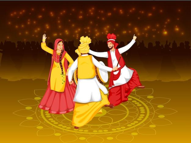 Pessoas punjabi fazendo bhangra dance com dhol instrument