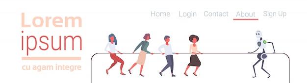 Pessoas, puxando corda, com, robô, lutando, competição, conceito, cabo guerra, human, contra, máquina, apartamento, bandeira horizontal, cópia, espaço, isolado