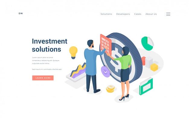 Pessoas que calculam soluções de investimento. ilustração
