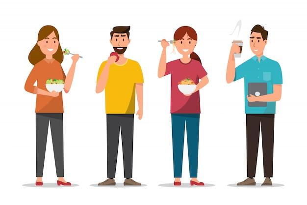 Pessoas que comem alimentos saudáveis e fast food em caráter diferente