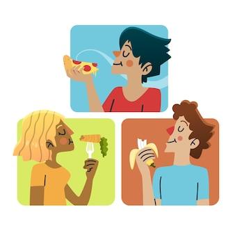 Pessoas que comem comida saudável e lixo