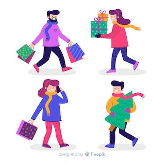 Pessoas que compram coleção de presentes de natal