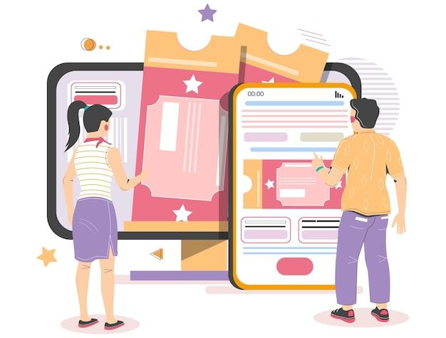 Pessoas que compram ingressos de teatro de cinema de computador móvel ilustração vetorial on-line reserva de ingressos ...