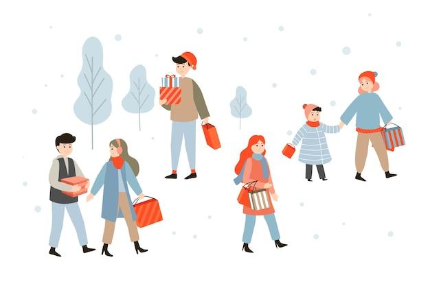 Pessoas que compram presentes de natal desenho