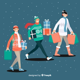Pessoas que compram presentes de natal