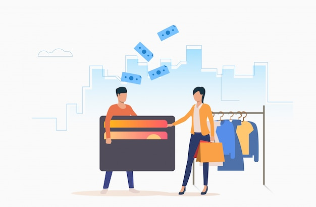 Pessoas que compram roupas com cartão de crédito