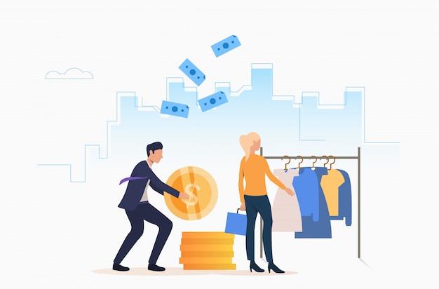 Pessoas que compram roupas com dinheiro