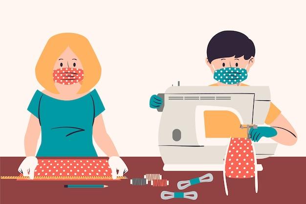 Pessoas que costuram uma máscara médica