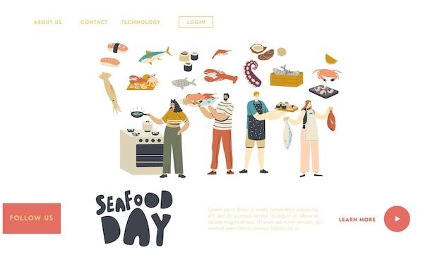 Pessoas que cozinham o modelo de página inicial de frutos do mar. Vetor Premium