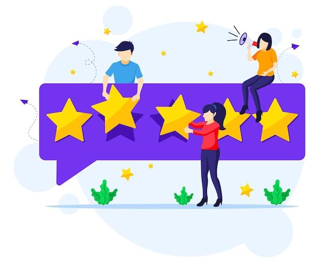Pessoas que dão uma avaliação e avaliação de cinco estrelas