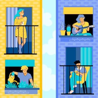 Pessoas que fazem atividades de lazer na coleção varanda