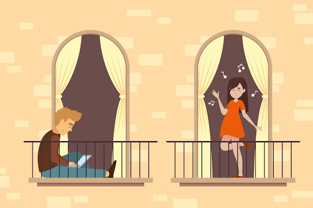 Pessoas que fazem atividades de lazer na varanda