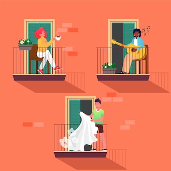 Pessoas que fazem atividades de lazer nas varandas