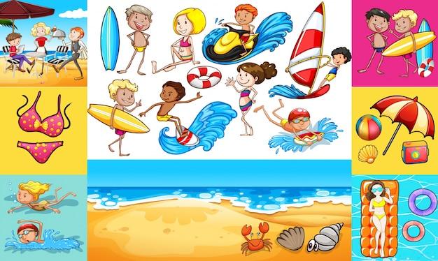 Pessoas que fazem atividades diferentes em uma praia