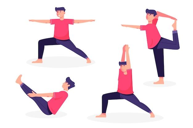 Pessoas que fazem coleção de poses de ioga