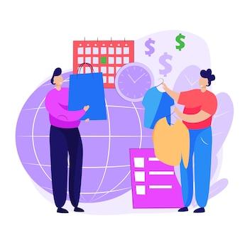 Pessoas que fazem compras na página da web