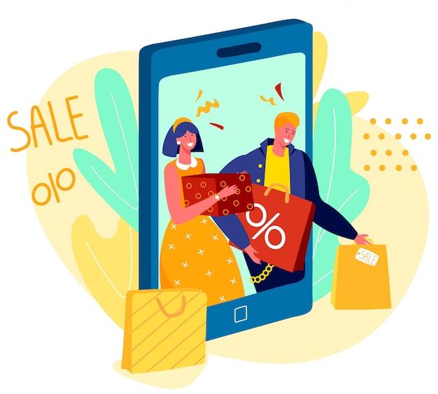 Pessoas que fazem compras online, venda na loja de aplicativos móveis, ilustração em vetor casal feliz