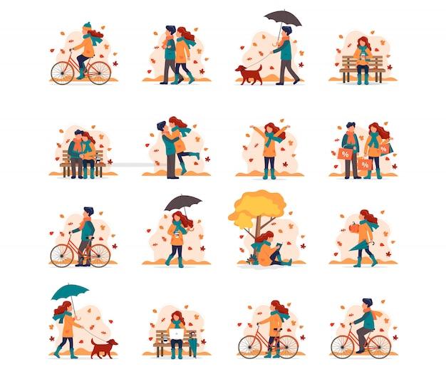 Pessoas que fazem diferentes atividades ao ar livre no outono.