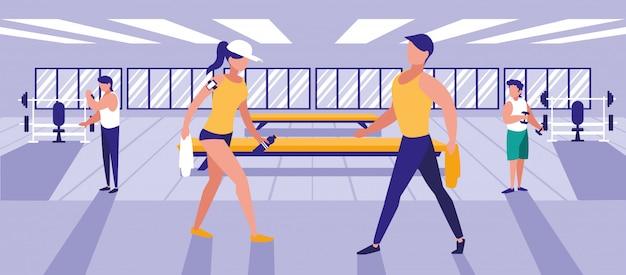 Pessoas que fazem exercícios na academia