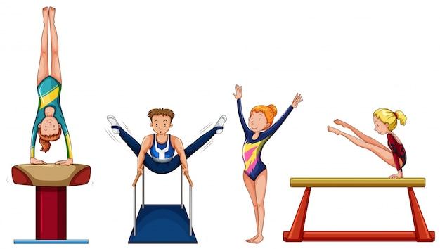 Pessoas que fazem ginástica em diferentes equipamentos de ilustração