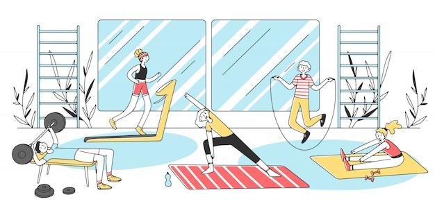 Pessoas que fazem ilustração de exercícios de fitness